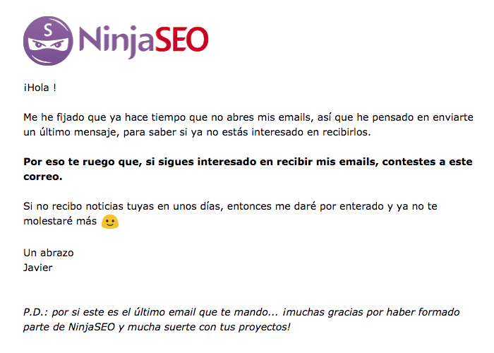 ejemplo email despedida original