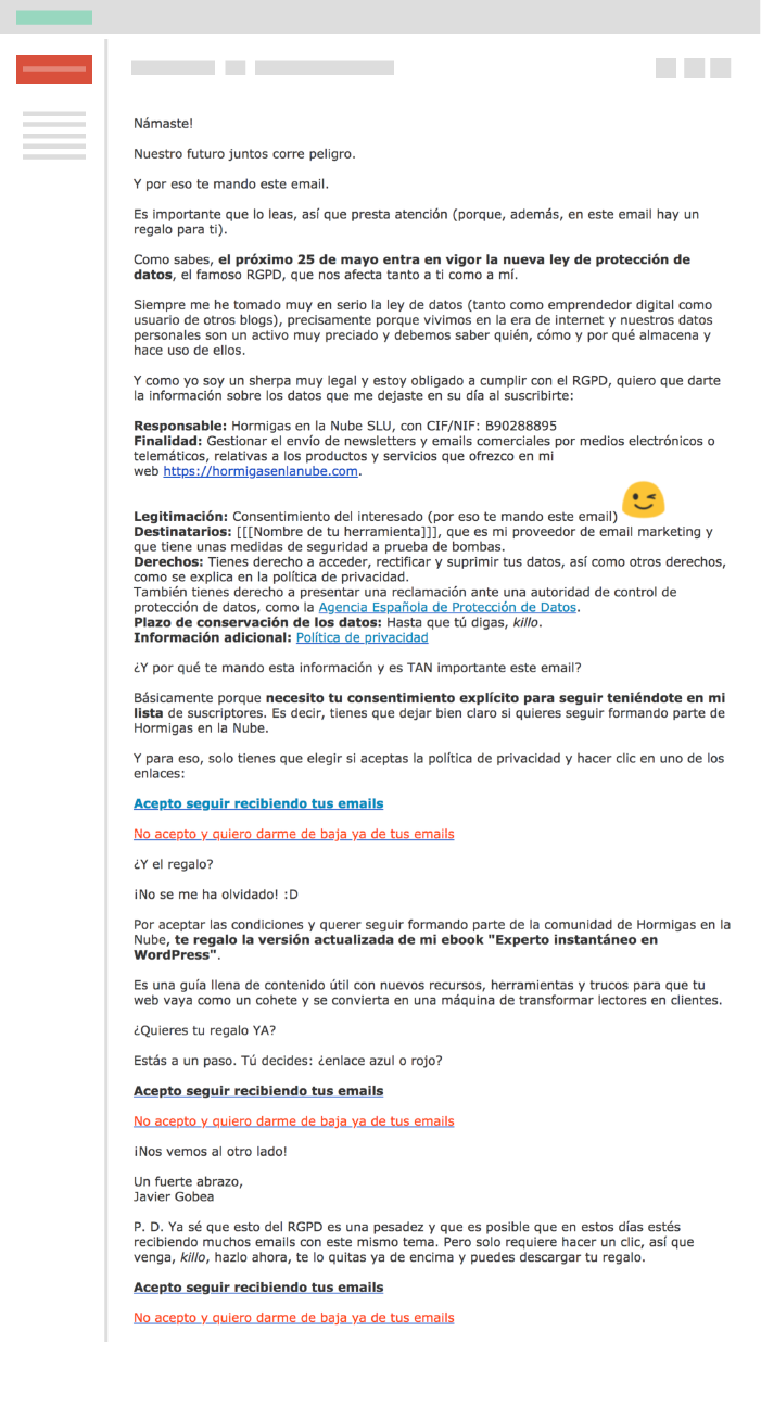 ejemplo campaña email RGPD