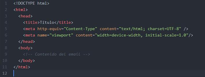 estructura simple HTML Email