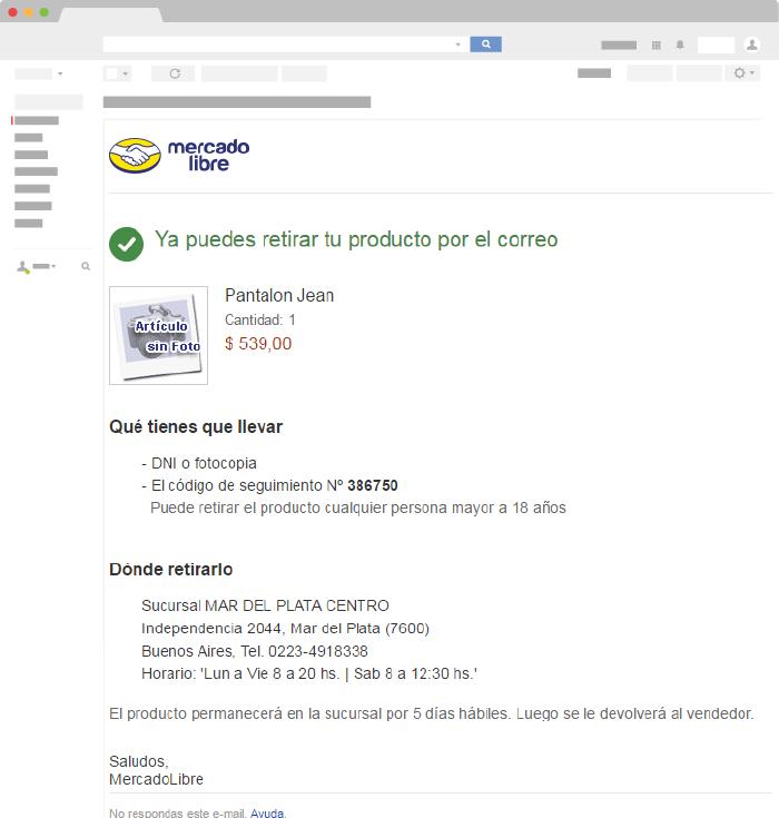 Email Transaccional confirmación de envío