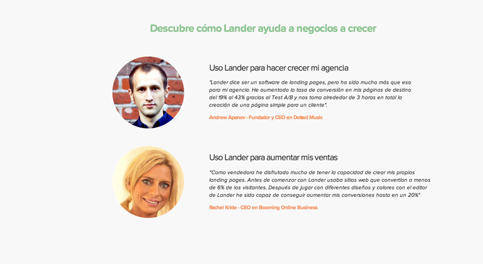 Testimonios en Landing Page