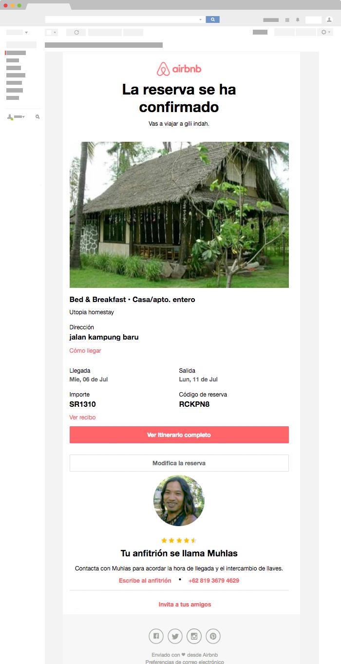Ejemplo de Email Transaccional de Airbnb