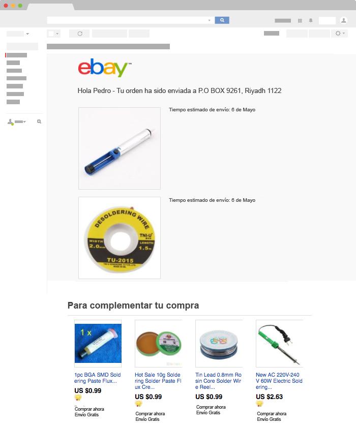 Ejemplo de Email Transaccional de ebay