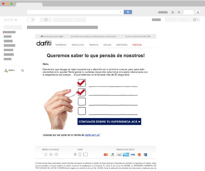 Ejemplo de Email Transaccional de Dafiti