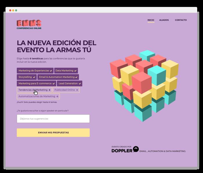 El sitio web con las temáticas