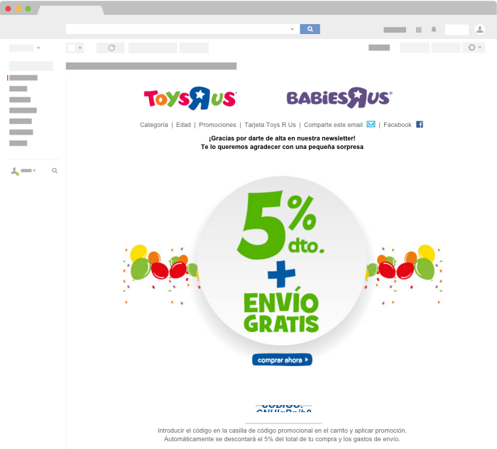 Ejemplo de Email Transaccional de Toys