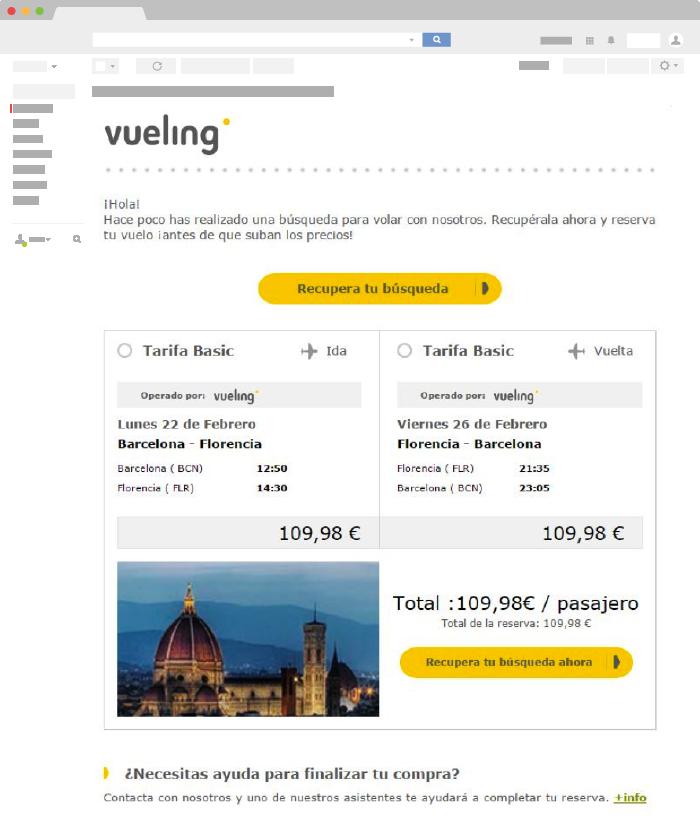 Ejemplo de Email Transaccional de Vueling